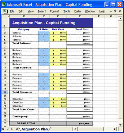 Acquisition plan template ms word excel for Equipment replacement plan template