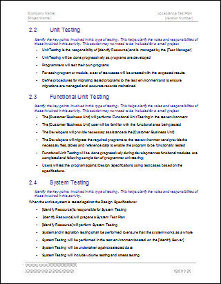 Acceptance test plan template for Software test plan template word