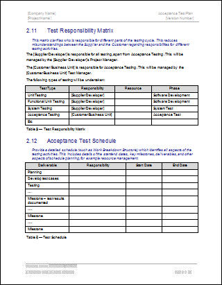 Acceptance test plan software software templates for Software testing document template