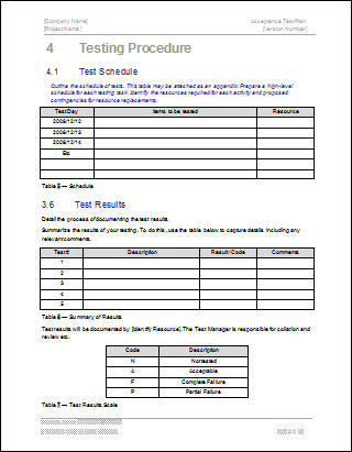 testing procedures template - acceptance test plan template ms word instant download