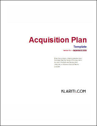 Acquisition Plan Template