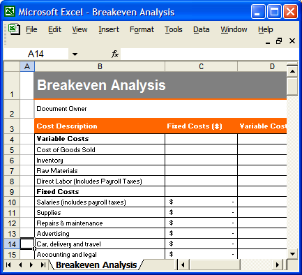 Break Even Analysis Worksheet Delibertad – Excel Break Even Analysis