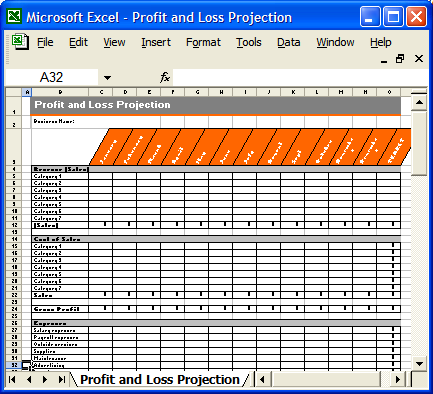 Business Plan Template Proposal Writing Tips – Excel Profit and Loss Worksheet