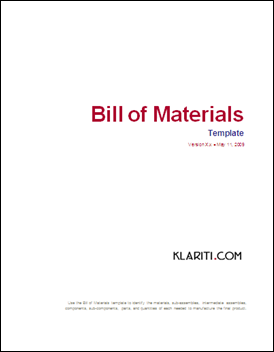 Bill of Material Template