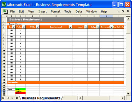 Business Requirements Excel Matrix