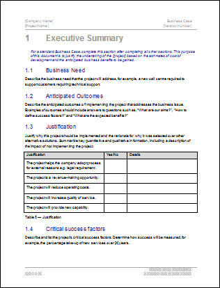 business case template executive summary