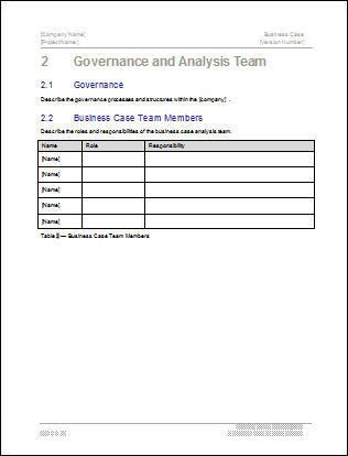 Business case template 22 pages ms word with free sample materials business case template governance and analysis team flashek