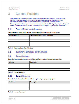 Business Case Template - Current Position