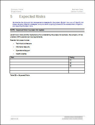 Business Case Template Risks