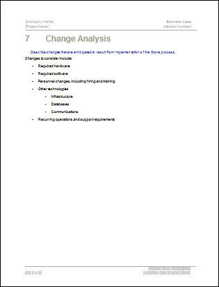 Business Case Template - Change Analysis