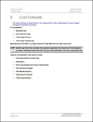 Marvelous Business Case Template. Chapter 8, Cost Estimate Idea Cost Estimate Template Word