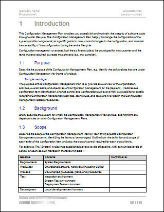 Configuration Management Plan  Download  Page Ms Word Template