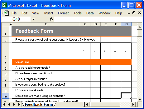 Communication Plan: Meetings Schedule  Feedback Form Template Free