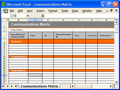 Communication plan templates my software templates for Project communication matrix template