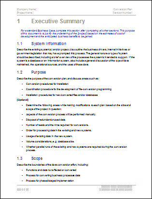 Conversion Plan Template. Chapter 1, Executive Summary  Management Summary Template