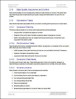 Conversion Plan Template  Download  Page Ms Word Sample Templates