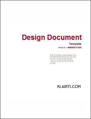 Design Document Template  Instant Download