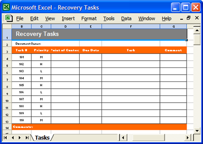 DR Template - Recovery Tasks