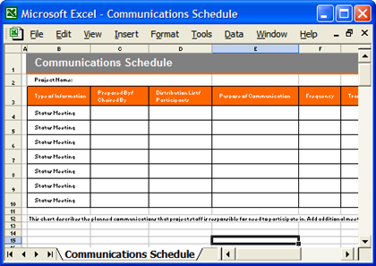 DR Template -Communication Schedule
