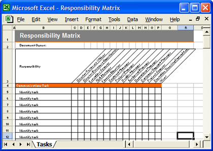 DR Template Responsibility Matrix