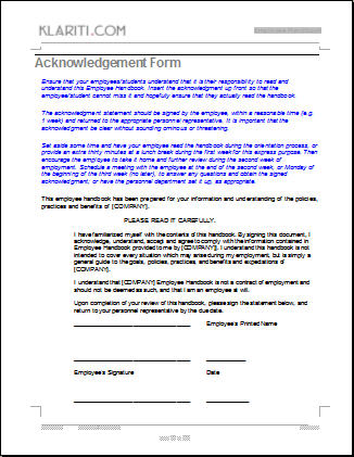 Employee Handbook Template Safety