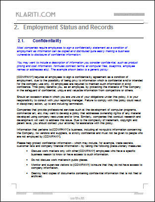 Employee Handbook TemplatePolicies, and Health and Safety.