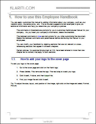 Employee Handbook Template  Instant Download