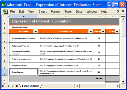 Expression of Interest Template Software – Product Evaluation Template