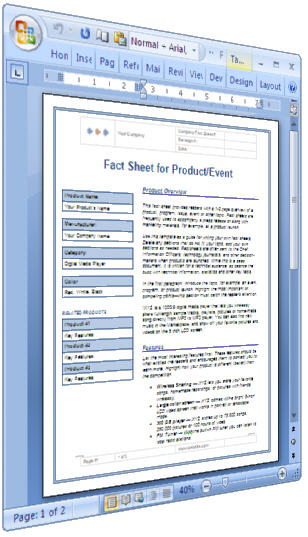 Fact Sheet - Use This Template (Ms Word) To Summarize The Key Facts