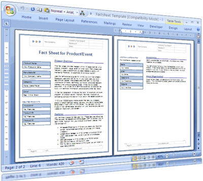 Fact Sheet  Use This Template Ms Word To Summarize The Key Facts