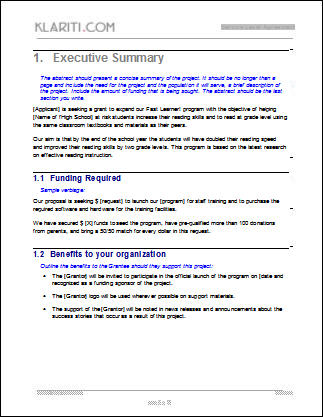 executive summary proposal example grant proposal template ms word