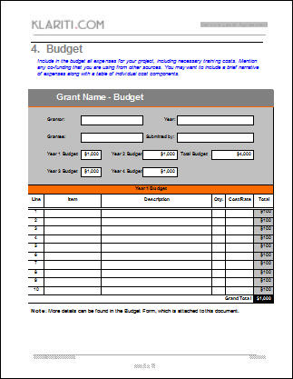 Grant Template Instant Download