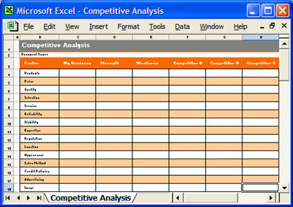 Marketing Plan MS Word and Excel forms checklists – Competitive Analysis Templates