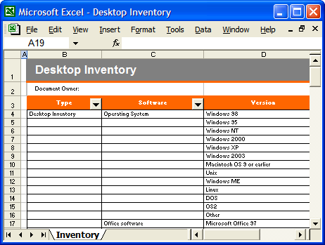 computer inventory format