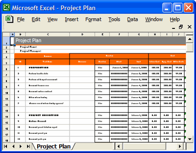 Project Plan MS Word Excel forms spreadsheets templates – Microsoft Action Plan Template