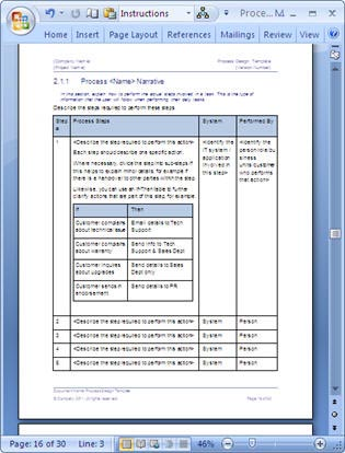 Business process design templates ms word excel visio for Design review process template